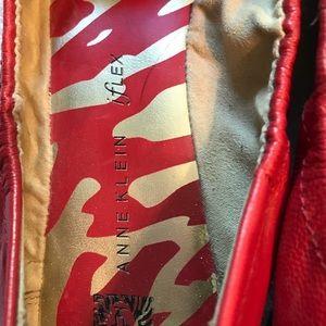 Anne Klein flex leather flats - red - size 9